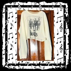 NWT ivory and black Beatles crop sweatshirt